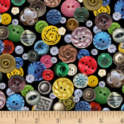 Stitch in Time Buttons Black Fabric