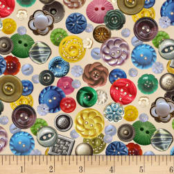 Stitch in Time Buttons Cream Fabric