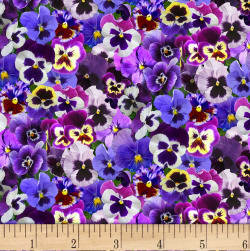 Lovely Pansies Purple Fabric
