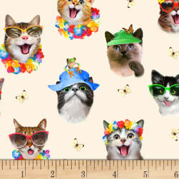 Beach Selfies Cats Allover Cream Fabric