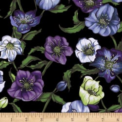 Lenten Rose Black Fabric