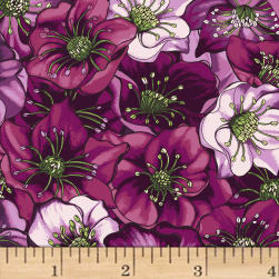Lenten Rose Dark Eggplant Fabric
