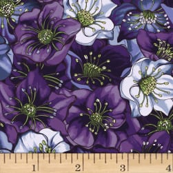 Lenten Rose Dark Indigo Fabric
