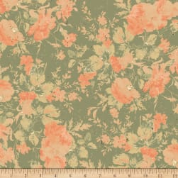 Love Lives Here floral Olive Fabric