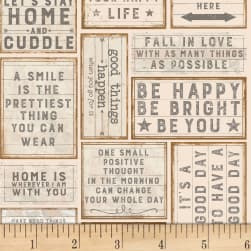 Love Lives Here Light Khaki Fabric