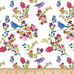 Marguerite Birds and Flowers White Fabric
