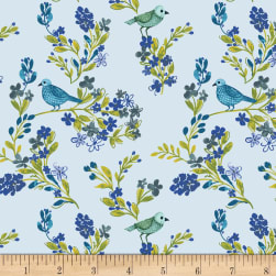 Marguerite Birds and Flowers Light Blue Fabric