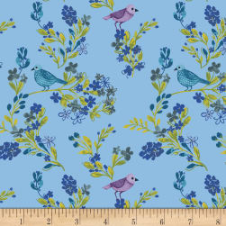 Marguerite Birds and Flowers Blue Fabric