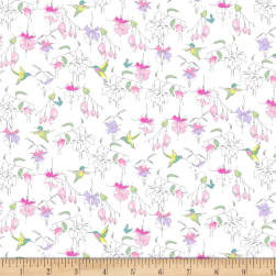 Fuchsias and Hummingbirds White Fabric