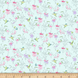 Fuchsias and Hummingbirds Light Teal Fabric