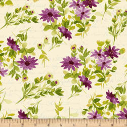Fresh Picked Flowers Dark Eggplant Fabric