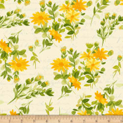 Fresh Picked Flowers Gold Fabric