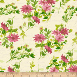 Fresh Picked Flowers Dark Raspberry Fabric