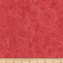 Fresh Picked Roses Dark Coral Fabric