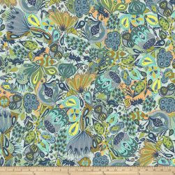 Garden Dreams Secret Garden Blue Fabric