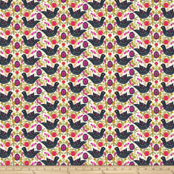 Garden Dreams Birds Black Fabric