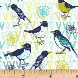 Spring Robins Birds Birds Light Cream Fabric