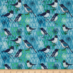 Spring Robins Birds Aqua Fabric