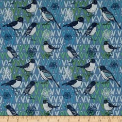 Spring Robins Birds Denim Fabric