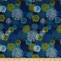 Spring Robins Floral Light Navy Fabric