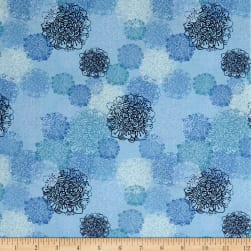 Spring Robins Floral Light Sky Fabric
