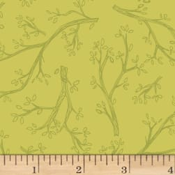 Spring Robins Branches Olive Fabric