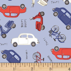 Jetset Europe Cars Periwinkle Fabric
