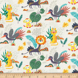 Over and Under Light Animals Khaki Fabric