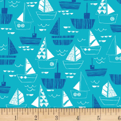Nautical Fish Boats Dark Aqua Fabric