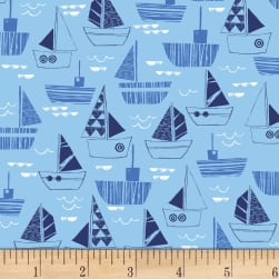 Nautical Fish Boats Blue Fabric