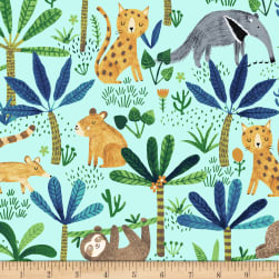 Jungle Fever Jungle Animals Light Turquoise Fabric