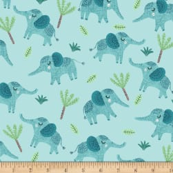 Jungle Fever Elephants Light Teal Fabric