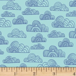 Jungle Fever Clouds Light Teal Fabric