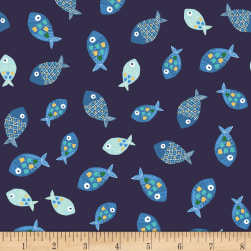 Jungle Fever Fish Navy Blue Fabric