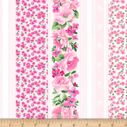 Chelsea Stripe Floral Light Pink Fabric