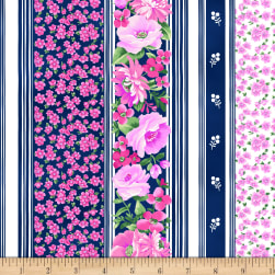 Chelsea Stripe Floral Light Navy Fabric