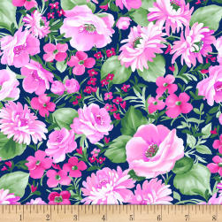 Chelsea Large Floral Light Navy Fabric