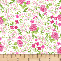 Chelsea Berries and Flowers White Fabric