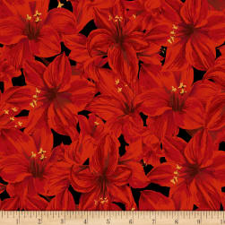 Holidays Remembered Floral Black Fabric