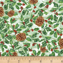 Holidays Remembered Foliage White Fabric