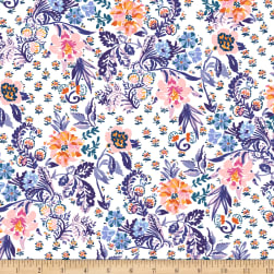 Elephant's Garden Floral White Fabric
