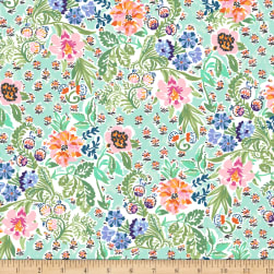 Elephant's Garden Floral Light Mint Fabric