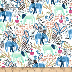 Elephant's Garden Elephant's Metallic White Fabric