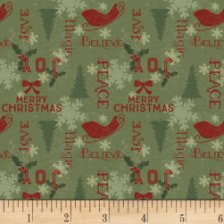 Home For Christmas Holiday Sayings Light Forest Fabric