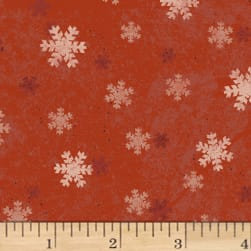 Home For Christmas Snowflakes Light Red Fabric