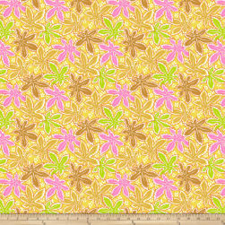 Kaffe Fassett Collective Lacy Leaf Yellow Fabric