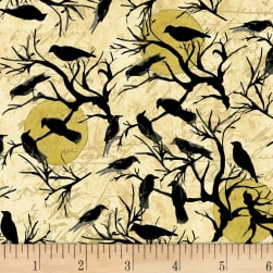 Something Wicked Crows in Trees Butter Fabric