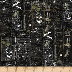 Something Wicked Brooms & Bats Black Fabric