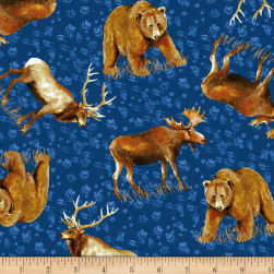 Open Sky Tossed Animals Royal Blue Fabric