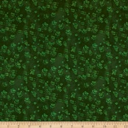 Open Sky Paw Prints Dark Green Fabric
